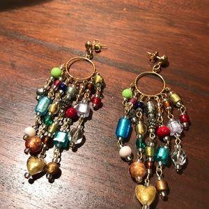 Vintage Hobo chic art glass dangling earrings